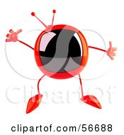 Royalty Free RF Clipart Illustration Of A 3d Red Square Tele Character Jumping by Julos