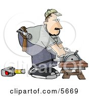 Male Carpenter Cutting Wood On A Sawhorse Clipart Illustration