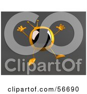 Royalty Free RF Clipart Illustration Of A 3d Yellow Square Tele Character Jumping Version 2 by Julos