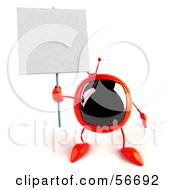 Royalty Free RF Clipart Illustration Of A 3d Red Square Tele Character Holding Up A Blank Sign Version 2 by Julos