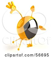 Royalty Free RF Clipart Illustration Of A 3d Yellow Square Tele Character Doing A Cartwheel Version 3 by Julos