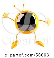Royalty Free RF Clipart Illustration Of A 3d Yellow Square Tele Character Jumping Version 1 by Julos