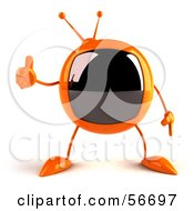 Royalty Free RF Clipart Illustration Of A 3d Orange Square Tele Character Giving The Thumbs Up by Julos