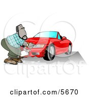 Male Insurance Agent Accessing Damage Of A Wrecked Sports Car