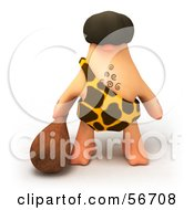 Royalty Free RF Clipart Illustration Of A 3d George Caveman Character Carrying A Club Version 3 by Julos