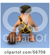 Royalty Free RF Clipart Illustration Of A 3d George Caveman Character Carrying A Club Version 1 by Julos