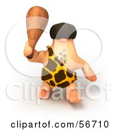 Royalty Free RF Clipart Illustration Of A 3d George Caveman Character Waving A Club Version 3 by Julos