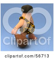 Royalty Free RF Clipart Illustration Of A 3d George Caveman Character Carrying A Club Version 2 by Julos