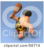 Royalty Free RF Clipart Illustration Of A 3d George Caveman Character Waving A Club Version 2 by Julos