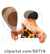 3d George Caveman Character Holding A Club Over A Blank Sign - Version 3