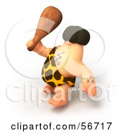 Royalty Free RF Clipart Illustration Of A 3d George Caveman Character Waving A Club Version 4 by Julos