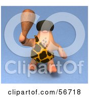 Royalty Free RF Clipart Illustration Of A 3d George Caveman Character Waving A Club Version 1 by Julos