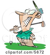 Happy Male Golfer Near A Ball Holding His Golf Club Clipart Illustration