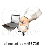 Royalty Free RF Clipart Illustration Of A 3d Chubby Chef Steve Character Holding A Laptop With A Blank Screen Version 4