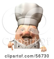 Royalty Free RF Clipart Illustration Of A 3d Chubby Chef Steve Character Standing Behind A Blank Sign Version 2