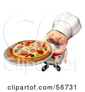 Royalty Free RF Clipart Illustration Of A 3d Chubby Chef Steve Character Serving A Pizza Pie Version 3