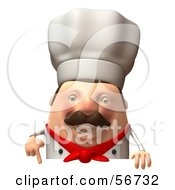 Royalty Free RF Clipart Illustration Of A 3d Chubby Chef Steve Character Standing Behind A Blank Sign Version 4