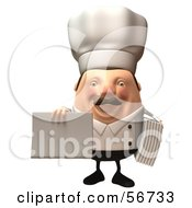 Royalty Free RF Clipart Illustration Of A 3d Chubby Chef Steve Character Holding A Blank Menu Or Sign Version 2