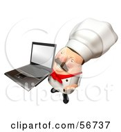 Royalty Free RF Clipart Illustration Of A 3d Chubby Chef Steve Character Holding A Laptop With A Blank Screen Version 7