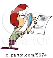 Woman Using A Magnifying Glass To Read The Fine Print On A Document Clipart Illustration