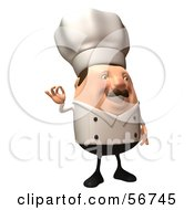 Royalty Free RF Clipart Illustration Of A 3d Chubby Chef Steve Character Gesturing The A Ok Sign Version 3