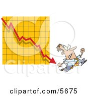 Man Running From A Bar On A Declining Graph Clipart Illustration