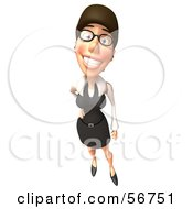 Royalty Free RF Clipart Illustration Of A 3d White Businesswoman Character Standing With One Hand On Her Hip Version 2