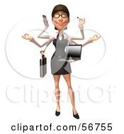 Royalty Free RF Clipart Illustration Of A 3d White Businesswoman Character Multi Tasking Version 1