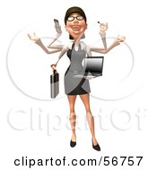 Royalty Free RF Clipart Illustration Of A 3d White Businesswoman Character Multi Tasking Version 2