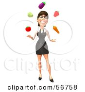 Royalty Free RF Clipart Illustration Of A 3d White Businesswoman Character Juggling Veggies Version 1 by Julos