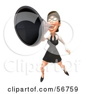 3d White Businesswoman Character Using A Megaphone - Version 4