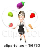 Royalty Free RF Clipart Illustration Of A 3d White Businesswoman Character Juggling Veggies Version 3