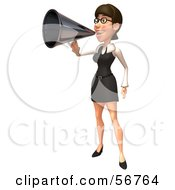Royalty Free RF Clipart Illustration Of A 3d White Businesswoman Character Using A Megaphone Version 1