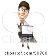 Royalty Free RF Clipart Illustration Of A 3d White Businesswoman Character Holding A Laptop Version 6 by Julos