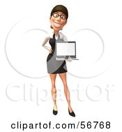 Royalty Free RF Clipart Illustration Of A 3d White Businesswoman Character Holding A Laptop Version 3 by Julos