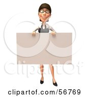 Royalty Free RF Clipart Illustration Of A 3d White Businesswoman Character Holding Up A Blank Sign Version 1 by Julos