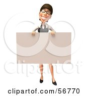 Royalty Free RF Clipart Illustration Of A 3d White Businesswoman Character Holding Up A Blank Sign Version 2