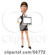 Royalty Free RF Clipart Illustration Of A 3d White Businesswoman Character Holding A Laptop Version 1