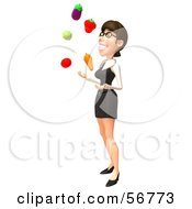3d White Businesswoman Character Juggling Veggies - Version 2