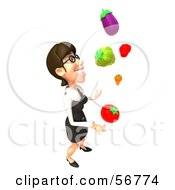 Royalty Free RF Clipart Illustration Of A 3d White Businesswoman Character Juggling Veggies Version 4 by Julos