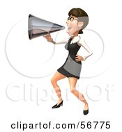 Royalty Free RF Clipart Illustration Of A 3d White Businesswoman Character Using A Megaphone Version 3