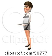 Royalty Free RF Clipart Illustration Of A 3d White Businesswoman Character Holding A Laptop Version 4