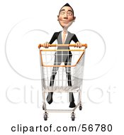 Royalty Free RF Clipart Illustration Of A 3d White Businessman Character Pushing A Shopping Cart Version 4