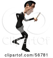 Royalty Free RF Clipart Illustration Of A 3d White Businessman Character Using A Magnifying Glass Version 2