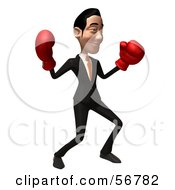 Royalty Free RF Clipart Illustration Of A 3d White Businessman Character Boxing Version 4