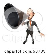 Royalty Free RF Clipart Illustration Of A 3d White Businessman Character Using A Megaphone Version 4