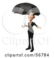 Royalty Free RF Clipart Illustration Of A 3d White Businessman Character Standing Under An Umbrella