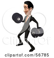 Royalty Free RF Clipart Illustration Of A 3d White Businessman Character Weight Lifting Dumbbells Version 2