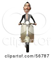 Royalty Free RF Clipart Illustration Of A 3d White Businessman Character Riding A Scooter Version 3