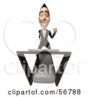 Royalty Free RF Clipart Illustration Of A 3d White Businessman Character Running On A Treadmill Version 4